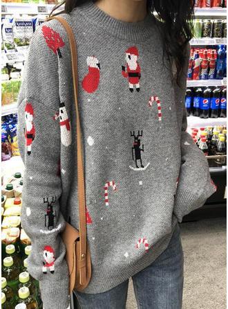 Acrylique Polyester Col rond Inmprimé Chandail de Noël moche