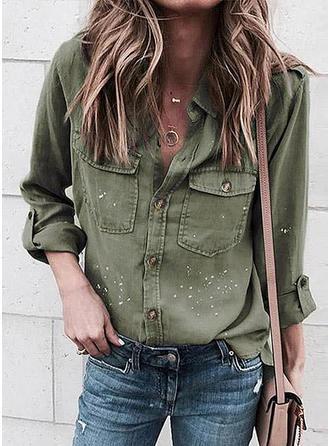 Print PolkaDot Lapel Long Sleeves Button Up Casual Shirt Blouses