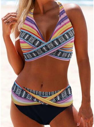 Rand Tryck Grimma Sexig Extra stor storlek Boho bikini Badkläder