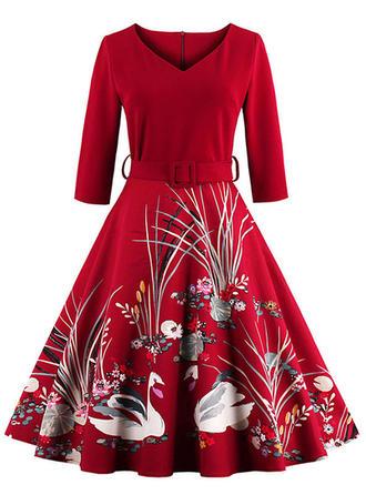 Print Christmas V-neck Knee Length A-line Dress
