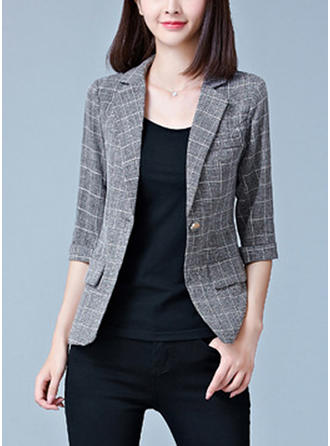 Cotton Blends 1/2 Sleeves Grid Blazers