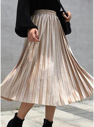 Velours Couleur unie Mi-Mollet Jupes plissées Jupes trapèze