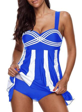 Striped Strap Elegant Swimdresses Swimsuits