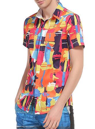 Mænd Splice farve Beach Shirts