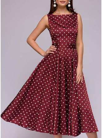 PolkaDot Round Neck Midi A-line Dress