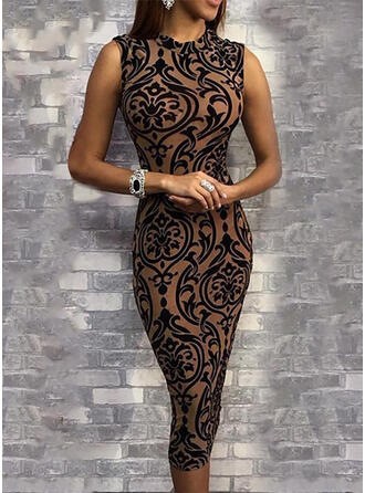 Print Sleeveless Bodycon Knee Length Casual Pencil Dresses