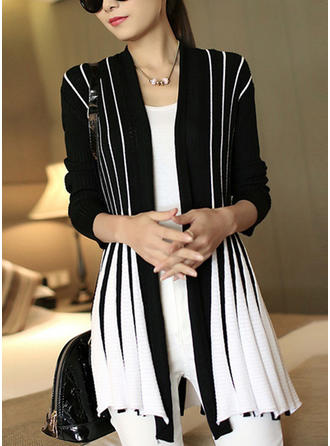 Cotton Long Sleeves Striped Cardigans