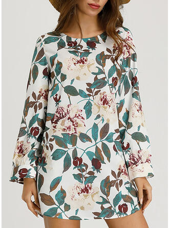 Print/Floral Long Sleeves Shift Knee Length Casual/Boho/Vacation Tunic Dresses