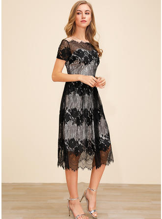 Lace Short Sleeves A-line Midi Casual/Elegant Dresses