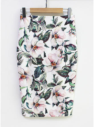 Cotton Blends Floral Knee Length Bodycon Skirts