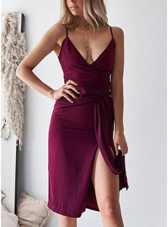 Solid Sleeveless Sheath Knee Length Sexy/Party Dresses