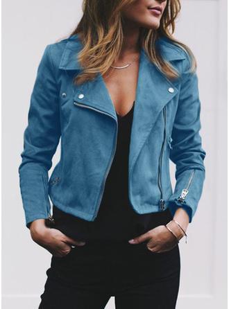 Zamsz Długie rękawy Jednolity kolor Jeans Płaszcze