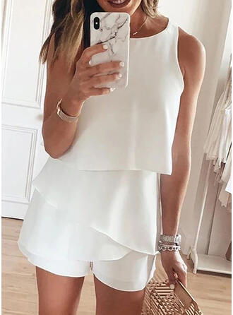 Solid Round Neck Sleeveless Casual Elegant Romper