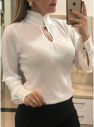 Solid Stand-up Collar Long Sleeves Casual Elegant Blouses