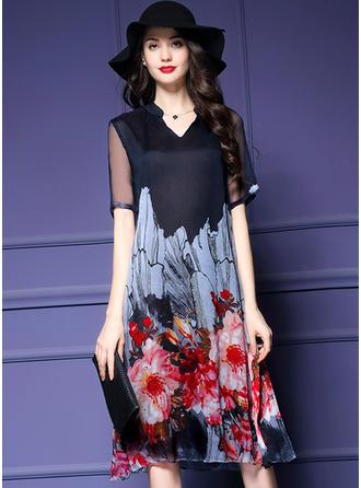 Chiffon With Print Knee Length Dress
