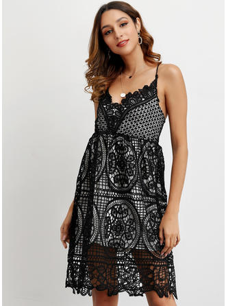 Lace/Solid Sleeveless A-line Knee Length Sexy/Casual Dresses