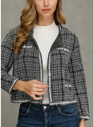 Polyester Long Sleeves Plaid Jackets