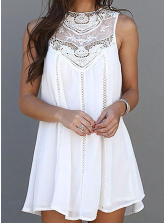 Lace Solid Round Neck Above Knee Shift Dress
