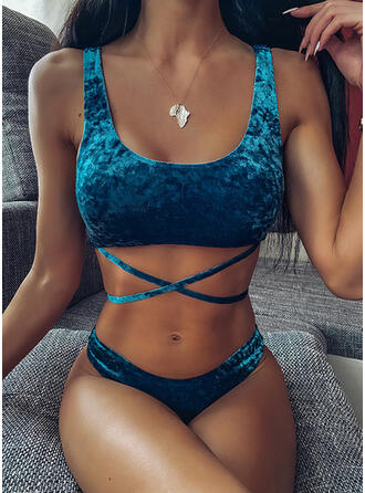 Solid Color Strap U-Neck Sexy Boho Bikinis Swimsuits