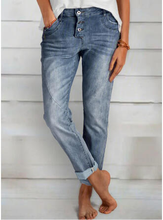Shirred Lange Elegant Einfach Denim Jeans