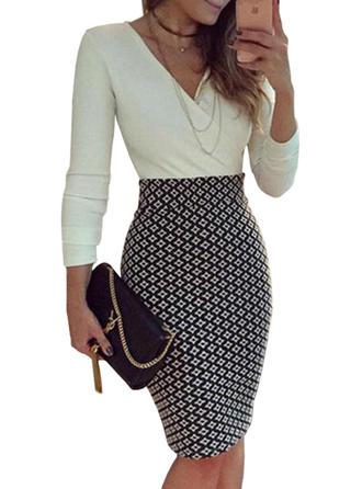 Print V-neck Knee Length Bodycon Dress