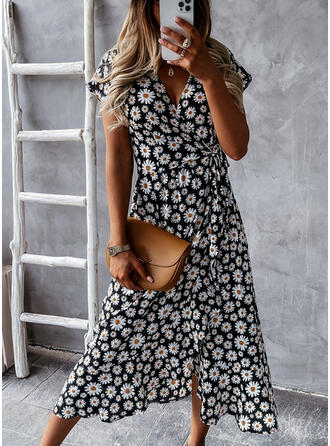 Print/Floral Short Sleeves A-line Wrap/Skater Casual/Vacation Midi Dresses
