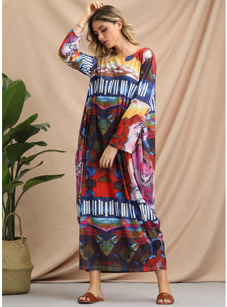 Print 3/4 Sleeves Shift Maxi Casual/Boho Dresses