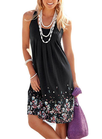 Print/Floral Sleeveless Shift Knee Length Boho Dresses