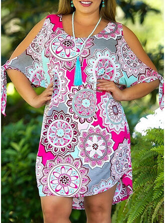 Plus Size Floral Print 1/2 Sleeves Cold Shoulder Sleeve Shift Above Knee Boho Casual Vacation Dress