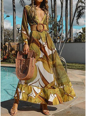 Print Long Sleeves/Lantern Sleeve A-line Casual/Vacation Maxi Dresses