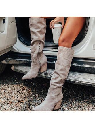 Mulheres Camurça Salto robusto Bota no joelho Dedo pontudo com Ruched Zíper Cor sólida sapatos