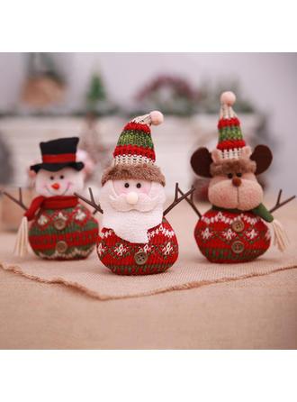 Feliz Navidad Monigote de nieve Reno Papa Noel Tela no tejida Muñeca