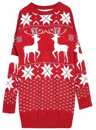 Acrylic Round Neck Print Animal Print Ugly Christmas Sweater