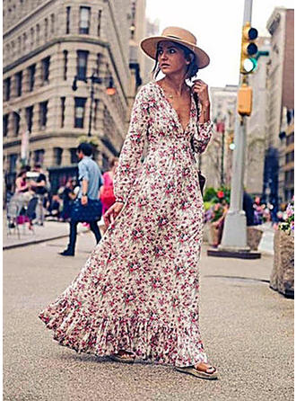 Cotton With Print/Ruffles Maxi Dress
