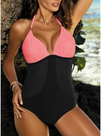 Splice color Halter Sexy One-piece Swimsuits