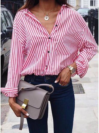 Cotton Lapel Striped Long Sleeves Shirt Blouses