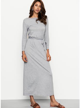 Solidny Długie rękawy Koktajlowa Maxi Nieformalny Sukienki