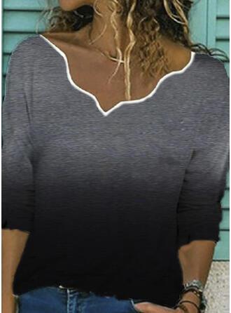 Gradient Dekolt w kształcie litery V Długie rękawy T-shirty