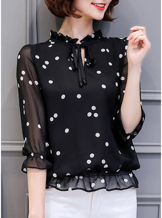 Chiffon Stand-up Collar Print 1/2 Sleeves Casual Blouses