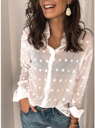 PolkaDot Lapel Long Sleeves Button Up Blouses