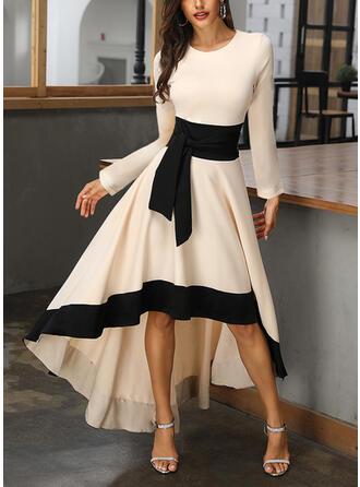Color Block Long Sleeves A-line Asymmetrical Casual/Party/Elegant Skater Dresses