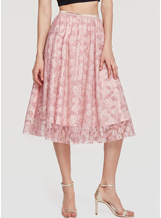 Lace Lace Mid-Calf A-Line Skirts