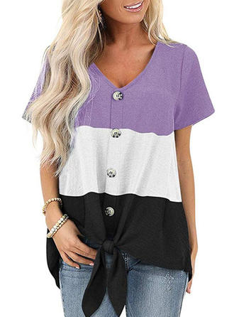 Color Block Round Neck Short Sleeves Casual T-shirt