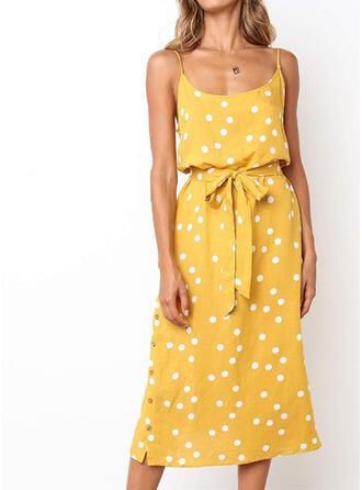 PolkaDot Sleeveless Sheath Casual/Vacation Midi Dresses