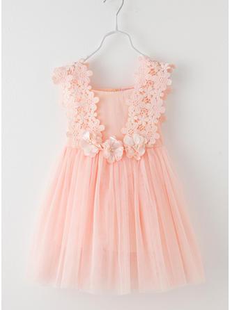 Girls Round Neck Solid Zipper Cute Dress