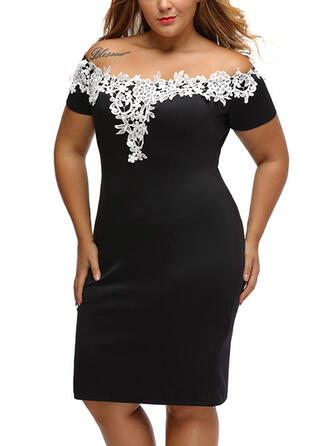 Lace/Patchwork Short Sleeves Bodycon Knee Length Little Black/Plus Size Dresses