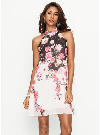 Floral Halter Above Knee Shift Dress