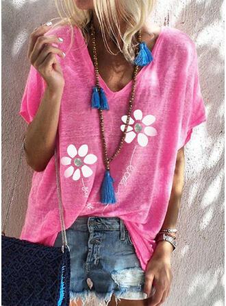Figura Floral Impresión Cuello en V Manga Corta Camisetas