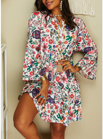 Print Long Sleeves/Flare Sleeves Shift Knee Length Casual Tunic Dresses