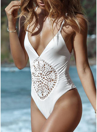 Solid Color Strap Bohemian One-piece Swimsuits